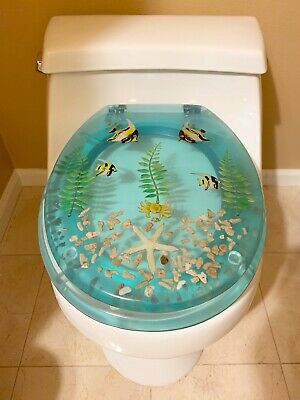 Brand New Polyresin Toilet Seat Aqua Star Fish Fish Wpl345 Ebay