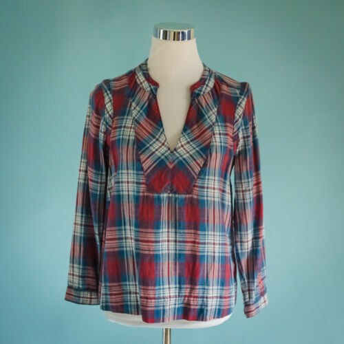 Madewell Small Size S Top Popover Blue Red Indigo
