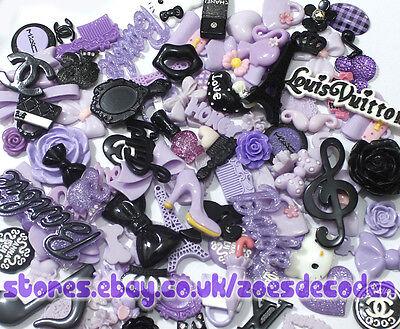purple black Kawaii cell phone case resin cabochon Bling DIY decoden deco kit