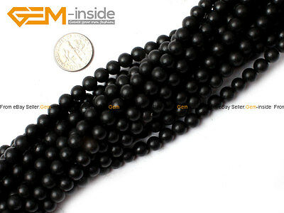 "Genuine Black Brazil Agate Onyx Gemstone Round Matte Beads 15"" Natural Stone"