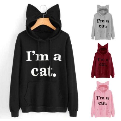 Damen I/'m a cat Print Pullover Locker Kapuzenpullover Hoodies Sweater Sweatshirt
