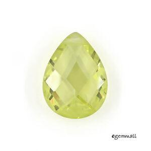 2-Cubic-Zirconia-Flat-Drop-Briolette-Beads-12x16mm-Lime-Green-64526