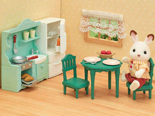 Sylvanian Families Calico Crtitters Green Vintage Kitchen Furniture Set