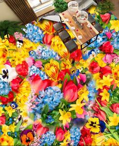 Flores Coloridas 3D 754 Impresión De Parojo Murales Papel de parojo de piso AJ Wallpaper Reino Unido Limón
