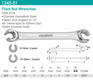 Whirlpower-Flare-Nut-Wrench-Satin-Finish-8x9mm-Automotive-Tools-NEW