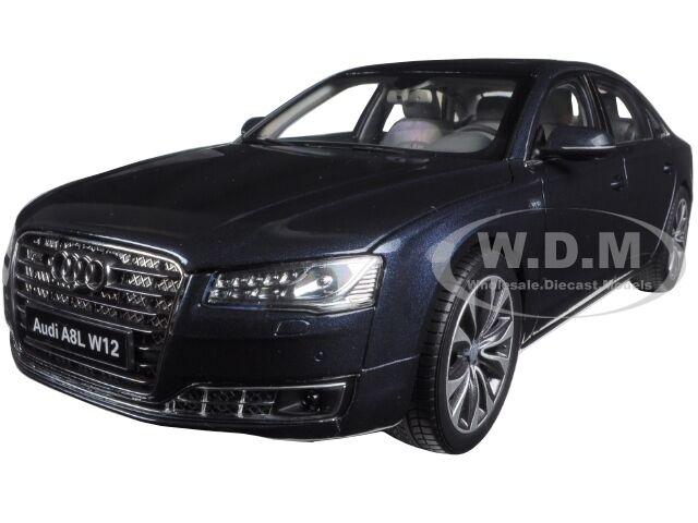 2014 AUDI A8 L W12 MOON SHINE blu 1/18 DIECAST MODEL CAR BY KYOSHO 09232 MSB