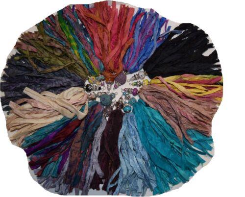 Sari Silk Ribbon craft ribbon jewelry making Tea green 3.6 oz