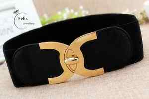 Lady Wide Fashion Belt Women Black Cinch Waist Belt Elastic Stretch Love Gift UK