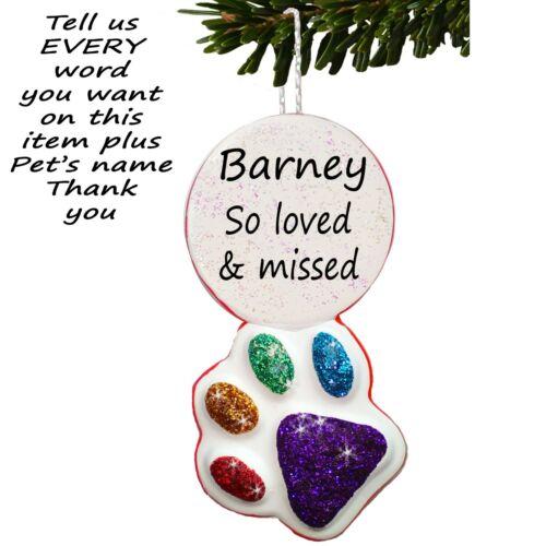Paw Print Rainbow Bridge Christmas Personalised Memorial Bauble Handmade Dog Cat