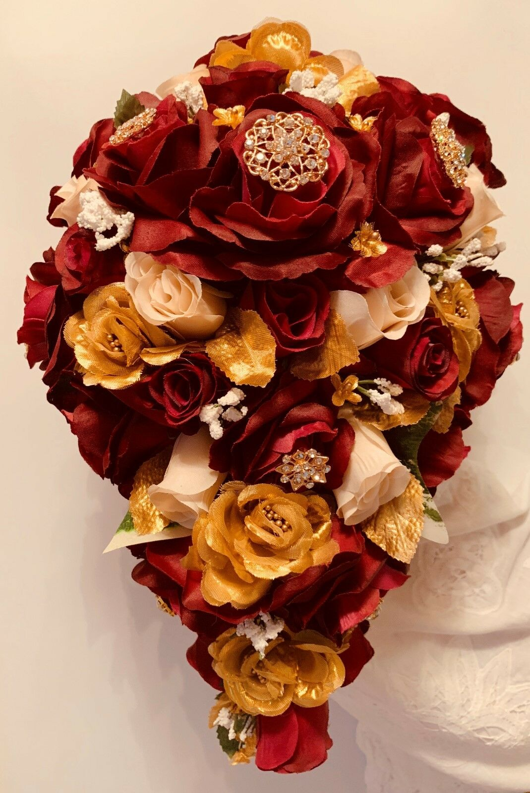 BRIDE CASCADE BOUQUET And Boutonniere, Burgundy, Gold and Ivory, Gold Brooches