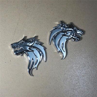Pair Emblem Metal Matte Black Wolf Head Auto Badge Sticker Decal  Accessories