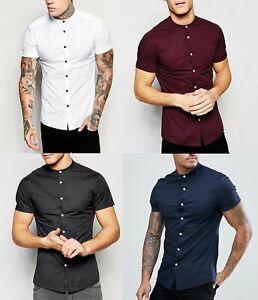 Mens-Grandad-Short-Sleeve-Shirts-Smart-Casual-Slim-Fit-Shirt-Mandarin-PS26