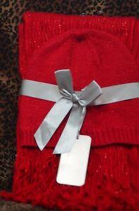 JC Penny Rumba Red Ladies  2PC Winter Warm Tassel Scarf Set Beanie, Hat ,Cap