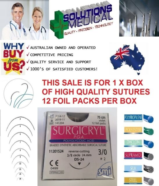 SUTURES BOX12 SIZE 3.0 USP ABSORBABLE POLYGLYCOLIC ACID SURGICRYL VIOLET