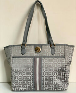NEW-TOMMY-HILFIGER-GRAY-MEDIUM-SATCHEL-SHOPPER-TOTE-BAG-PURSE-89-SALE