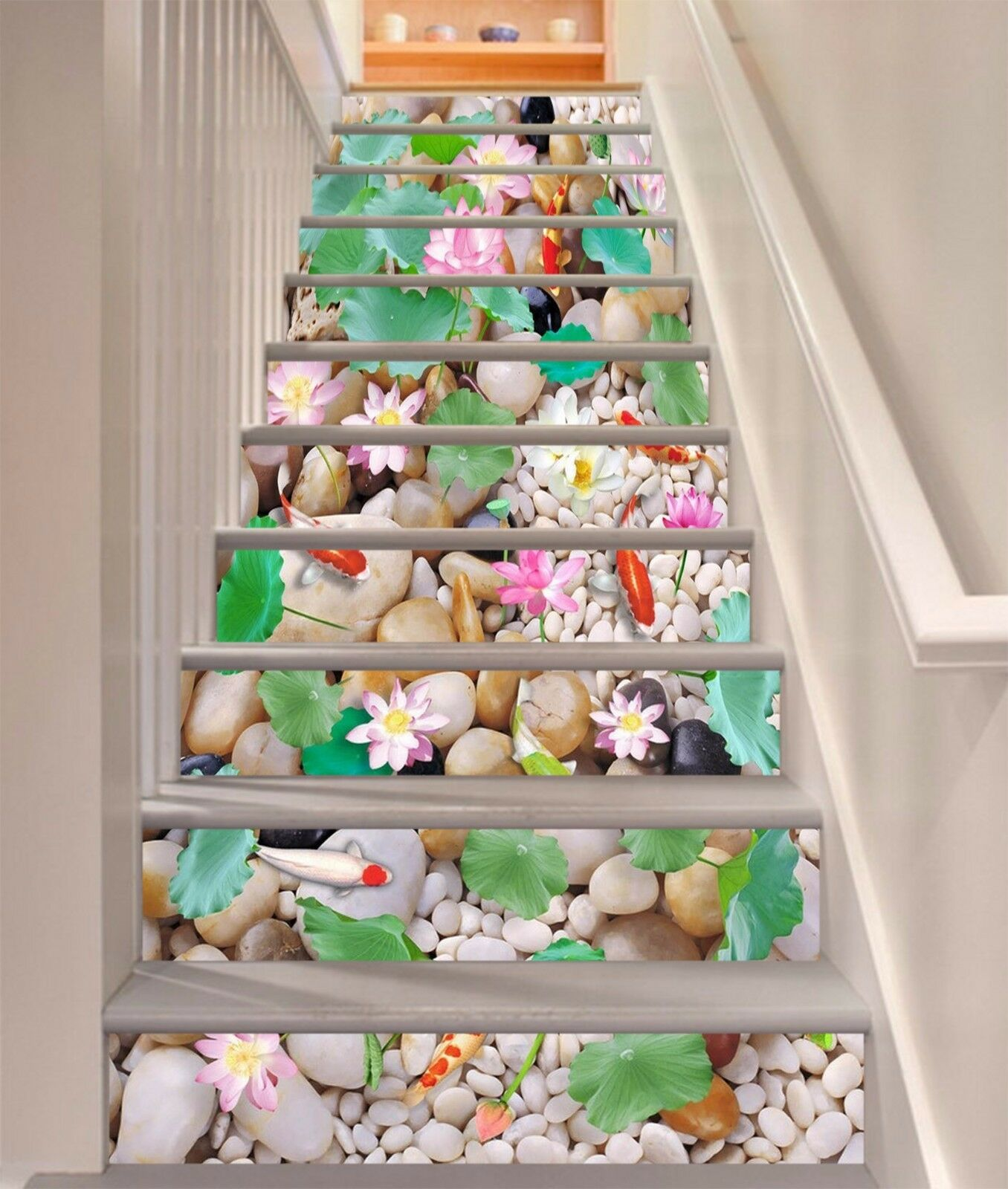 3D Pond stone 45 Stair Risers Decoration Photo Mural Vinyl Decal Wallpaper UK