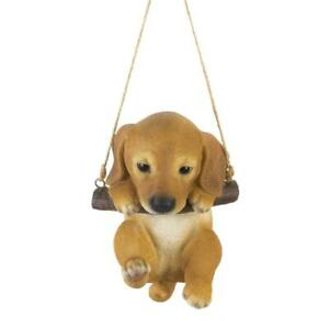 Hanging-brown-dog-puppy-swing-tree-Statue-outdoor-sculpture-yard-lawn-ornament