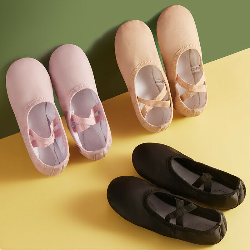 Faux Leather Ballet Shoes Slippers Split Sole Flats Toddler Girls Boy Kids Adult