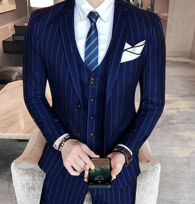 Mens Slim Fit Wedding Korean Formal Stripes Coat Pants Vest Suits Blazer Party