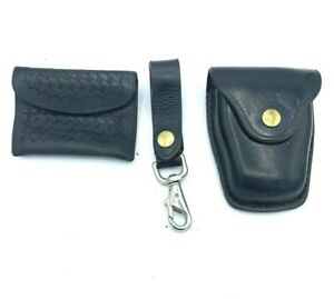 Jay-Pee Black Leather Handcuff Case General Purpose Pouch & Key Chain Holder