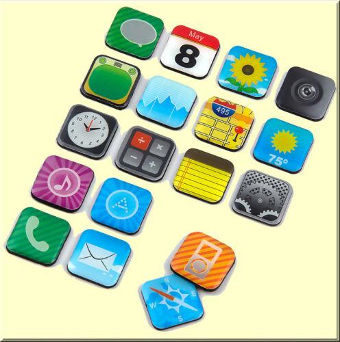 18 starke Mini Kühlschrank Magnete im iPhone Apps Deko Design Set Büro Pinnwand