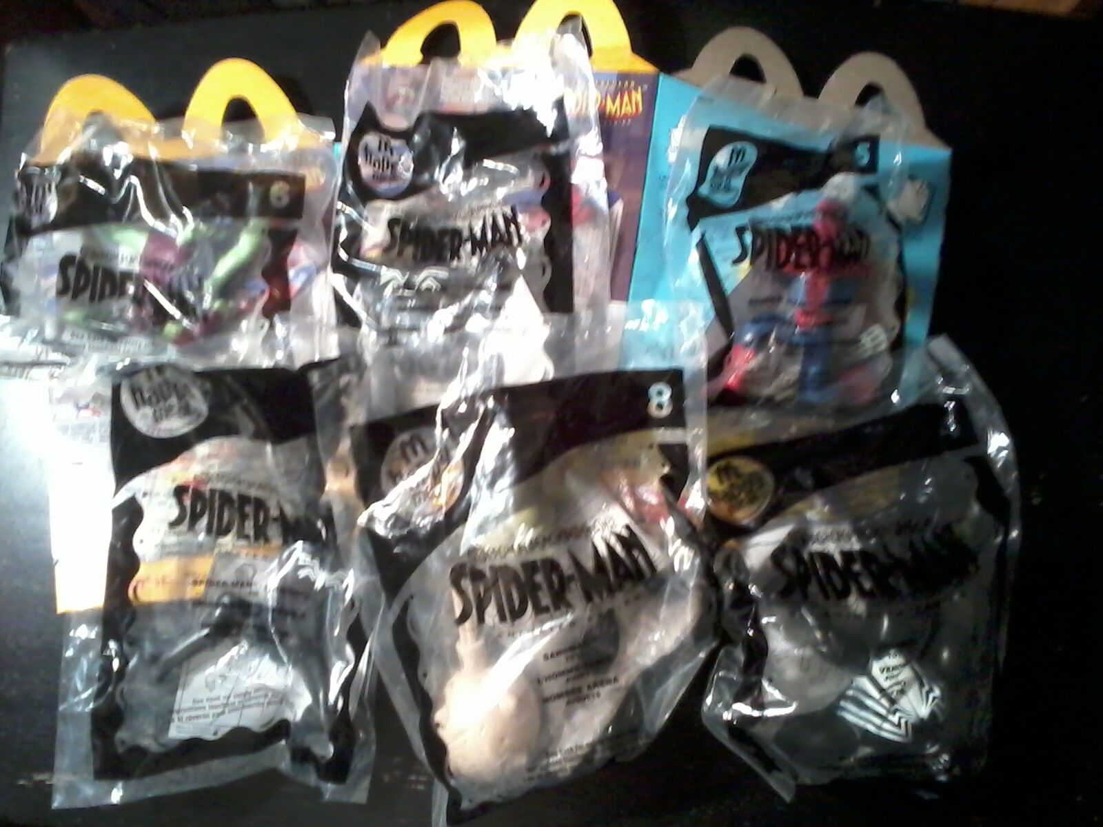 2009 McDonalds Happy Meal Spectacular Spider-Man Lot 6 Toys & 2 Boxes NEW