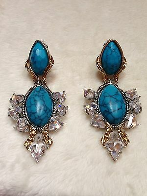 Alexis Bittar OLMECA TURQUOISE CRYSTAL GRAND CLIP Earrings $475 3.2""