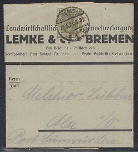 BMN 38720) BREMEN 1921 ungeöffnete Drucksache nach Alse Oldenburg
