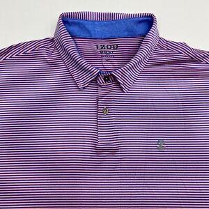 Izod-Golf-Polo-Shirt-Men-039-s-2XL-XXL-Short-Sleeve-Pink-Blue-Striped-Poly-Blend