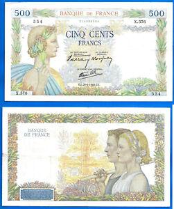 France 500 Francs 1940 Serie X La Paix Great Bill Europe Frc Frcs Free Ship Wld