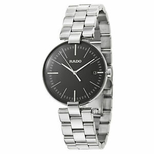 Rado-Coupole-L-Black-Dial-Men-039-s-Stainless-Steel-Watch-R22852163