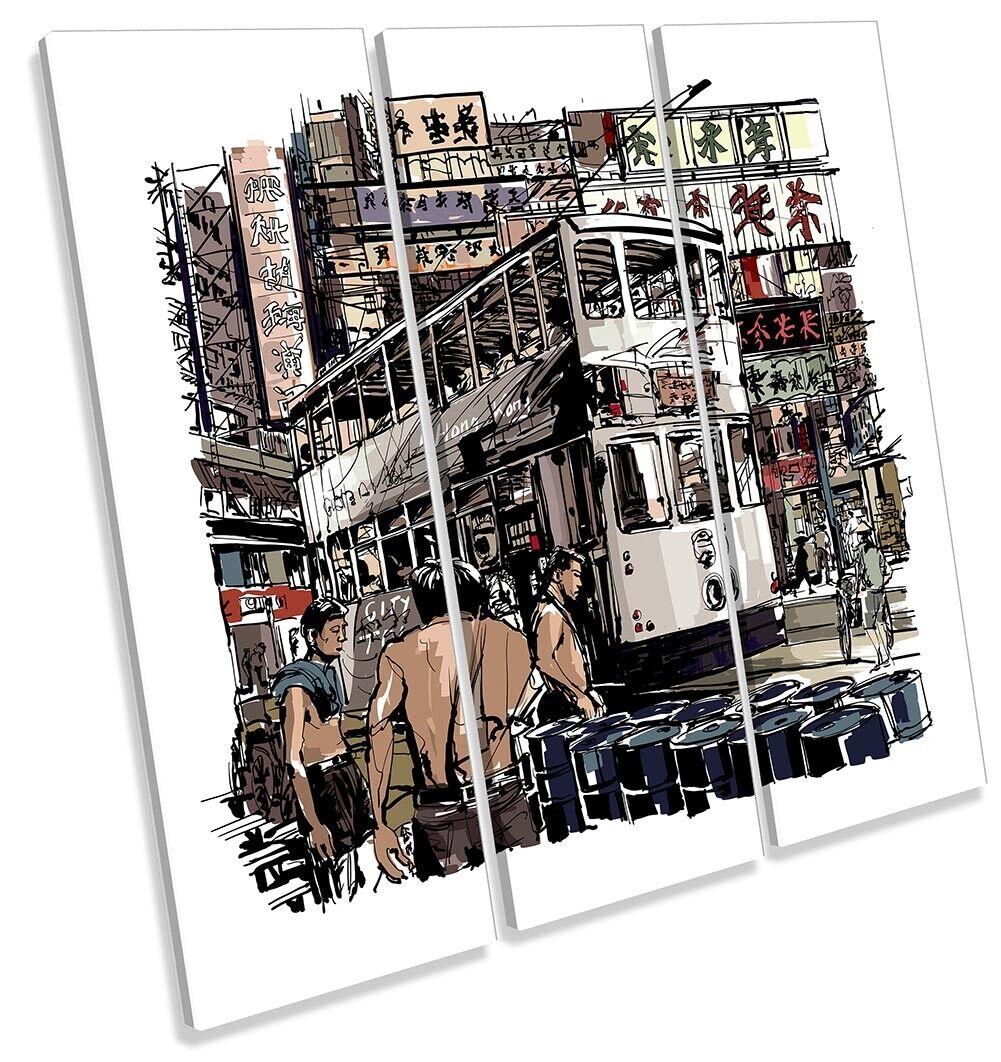 Hong Kong Tram Stadt Bild TREBLE CANVAS Wand Kunst Square Drucken Multi-Colourot