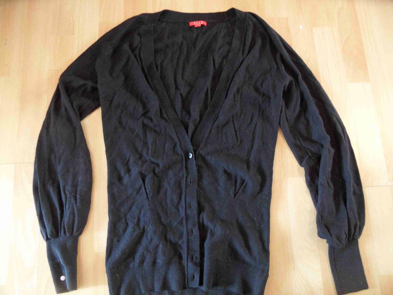 ELLE schöner langer Cardigan black Gr. 40 TOP ZC316