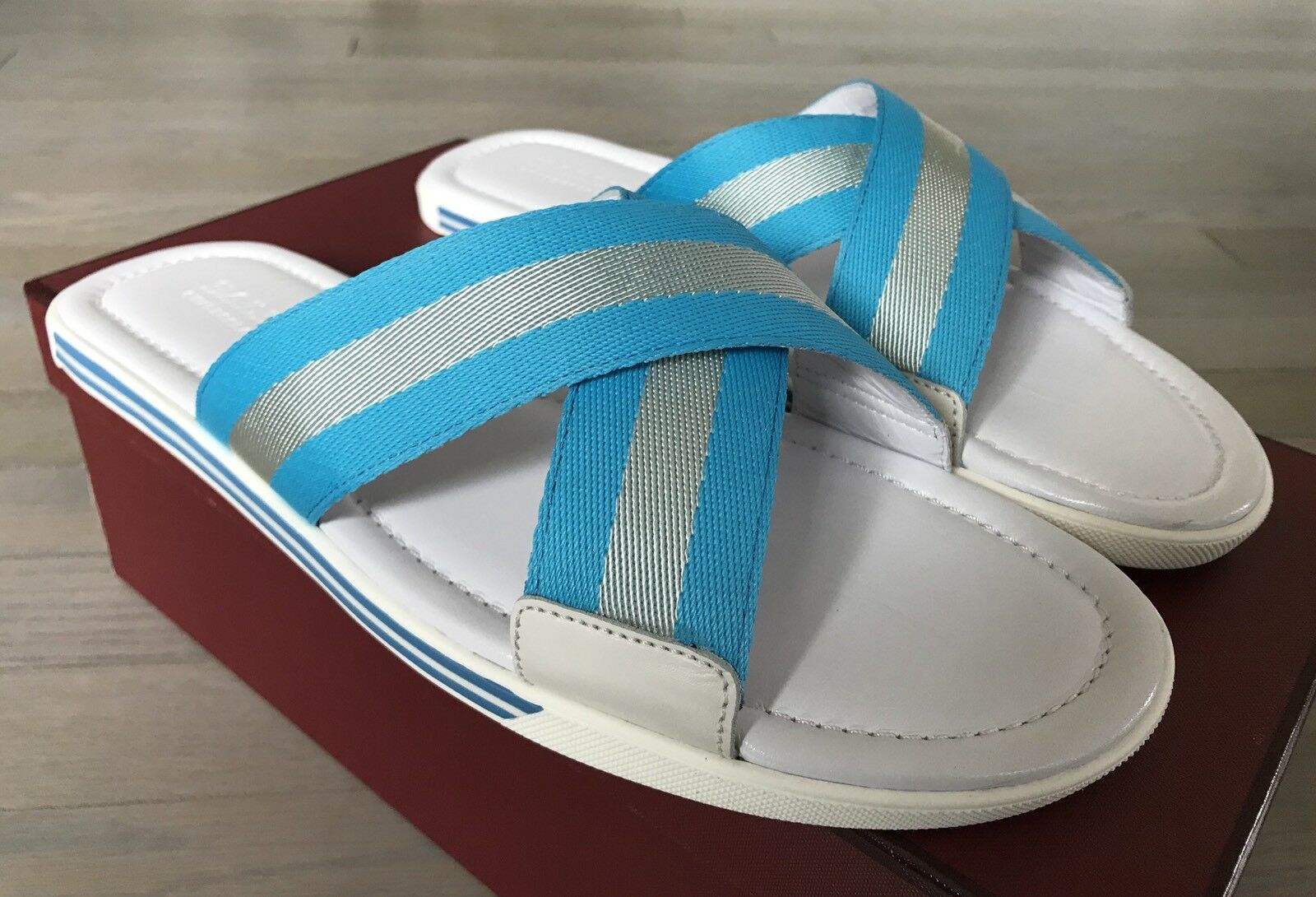 500  Bally Bonks White and bluee Leather Sandals size US 10 Made in