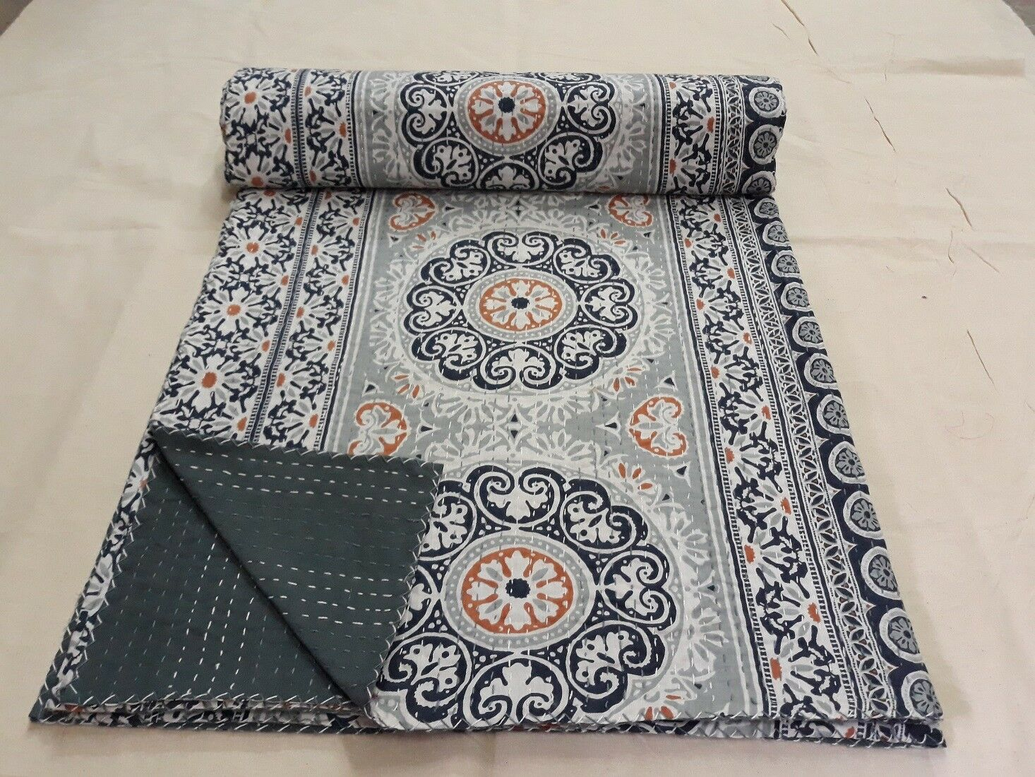 Indian Handmade Throw  Quilt  Bedspread Blanket Print Cotton Kantha Bed Cover