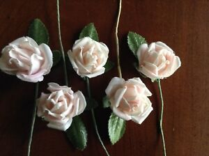 Vintage-Millinery-Flower-Rose-5pc-Lot-Cotton-1-1-8-034-Soft-Pink-for-Hair-Crown-UA