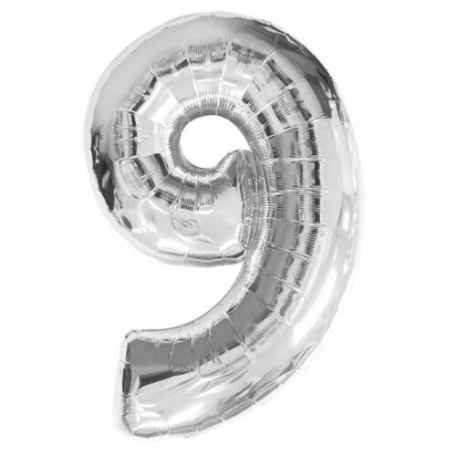 """16/"""" Silver Number 9 Balloon Inflatable Banner Party Bunting Decorations"""