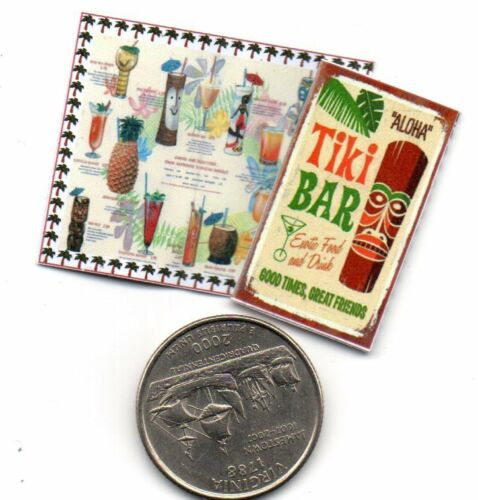 Dollhouse 1:12 scale 2  Miniature  VINTAGE Tiki Bar   MENUS