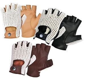 Half-Finger-Classic-Leather-Driving-Gloves-Hand-Knitted-Crochet-String-Back