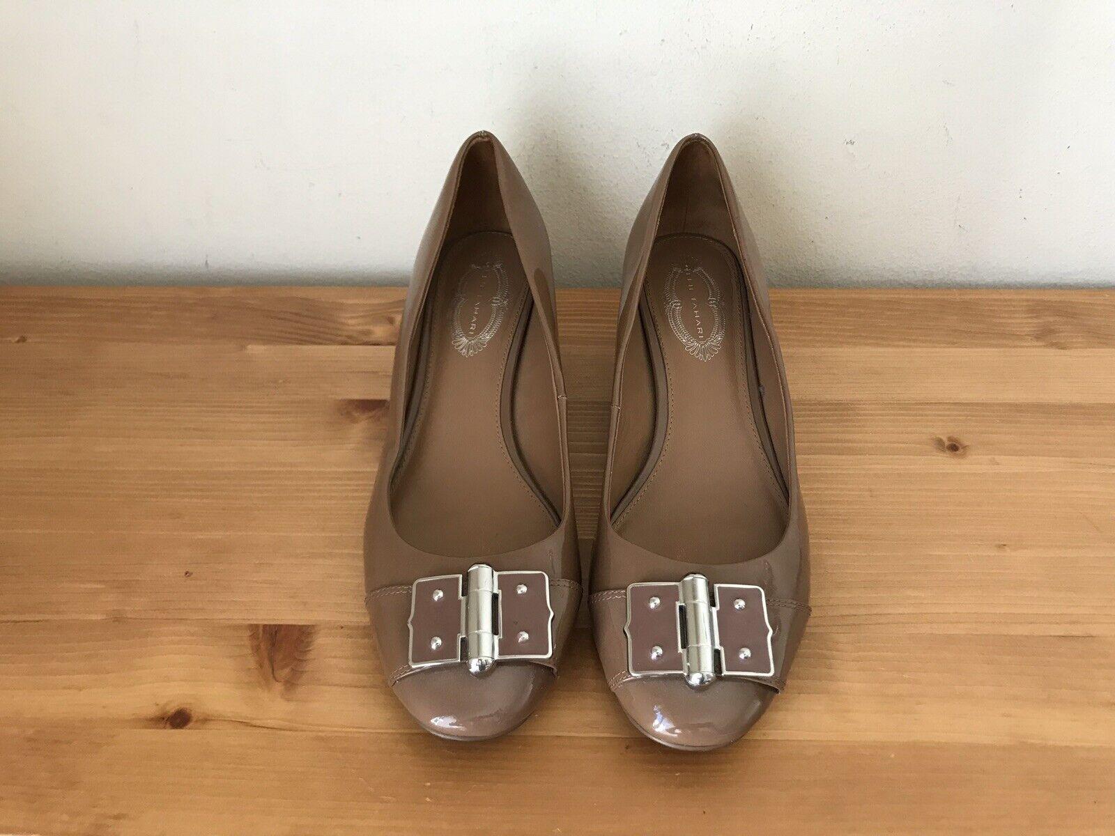 ElieTahari Patent Leather Kaplan Taupe Pump Women Size 40  US 9.5M