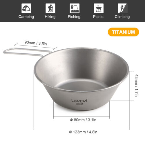 Lixada Titanium Bowl with Foldable Handle for Outdoor Camping Hiking