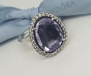 Authentic-Genuine-Pandora-Amethyst-Cocktail-Ring-Size-50-190893AM
