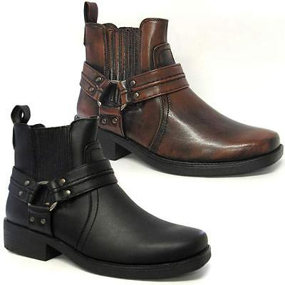 Mens Ankle Biker Boots New Cowboy Chelsea Winter Western Harness Boots Shoes Siz