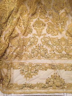 "GOLD BEADED & SEQUINS BRIDAL LACE CORDED FABRIC 50"" WIDE 1 YD"