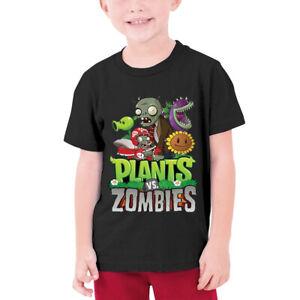 Растения против Зомби игры дети мальчики футболка с короткими рукавами с вырезом лодочкой, повседневная футболка