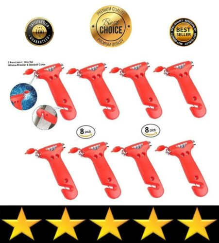 Eight Pack Of Emergency Auto Car Window Glass Hammers Breakers Seat Belt Cutters