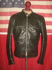 Superb Vintage  BROOKS J-100 Cafe Racer Motorcycle Black Leather Jacket.Size 42