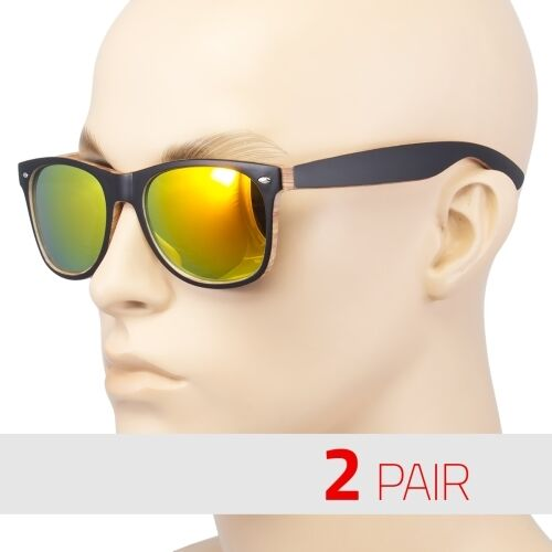 2 Pair men Women vintage Style Indie Fashion Wood Print Retro Sunglasses Fire