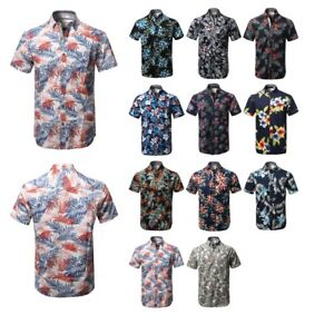 82f6b747 Image is loading FashionOutfit-Men-Casual-Short-Sleeve-Tropical -Beach-Floral-