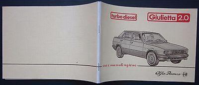 1983 ALFA ROMEO GIULIETTA 2.0 Turbo Diesel manuale originale uso manutenzione